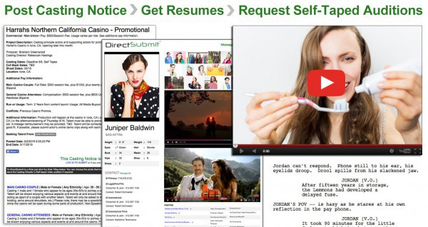 Get Self-Taped Auditions sent to you via DirectAuditions. Just send us the scripts with the Casting Notice and ask for Self-Tapes.