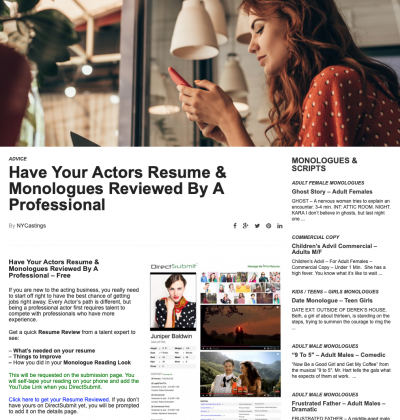 Get You Resume, Reels and Monologues Reviewed